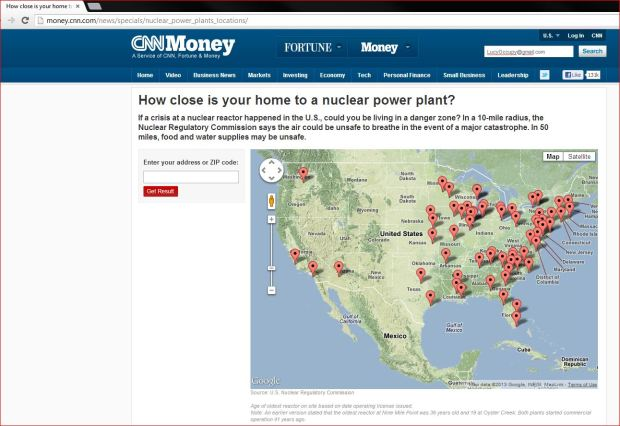Capture CNN how close is YOUR home to a nuclear power plant