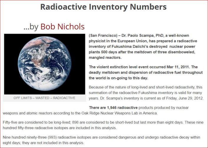 Fukushima  Radioactive Inventory Numbers VT 2012
