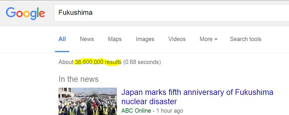 Google Search FUKUSHIMA 3 11 2016 745 am pst 36600000 down from over 62 million in 2012 doh